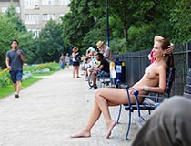 Girl naked in public with Jenny L.