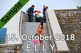 Elly walk down stairs naked